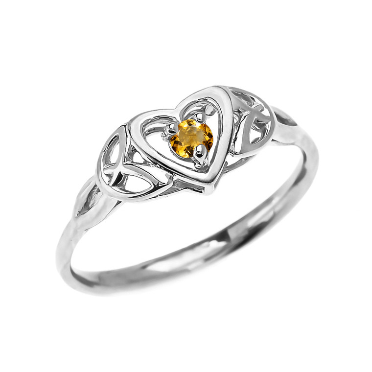 Trinity Knot Heart Solitaire Citrine White Gold Proposal Ring