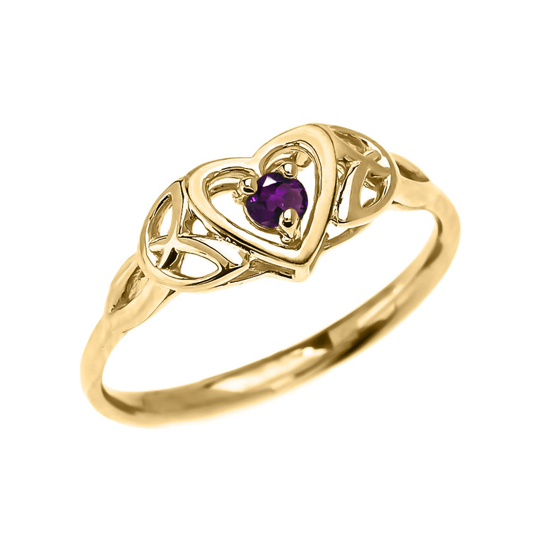 Trinity Knot Heart Solitaire Amethyst Yellow Gold Proposal Ring