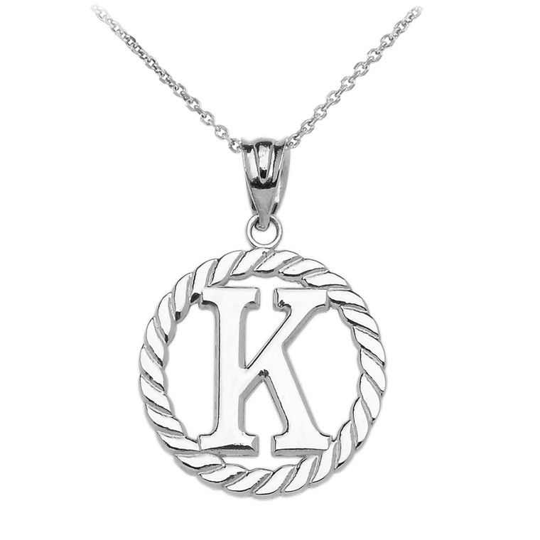 """Sterling Silver """"K"""" Initial in Rope Circle Pendant Necklace"""