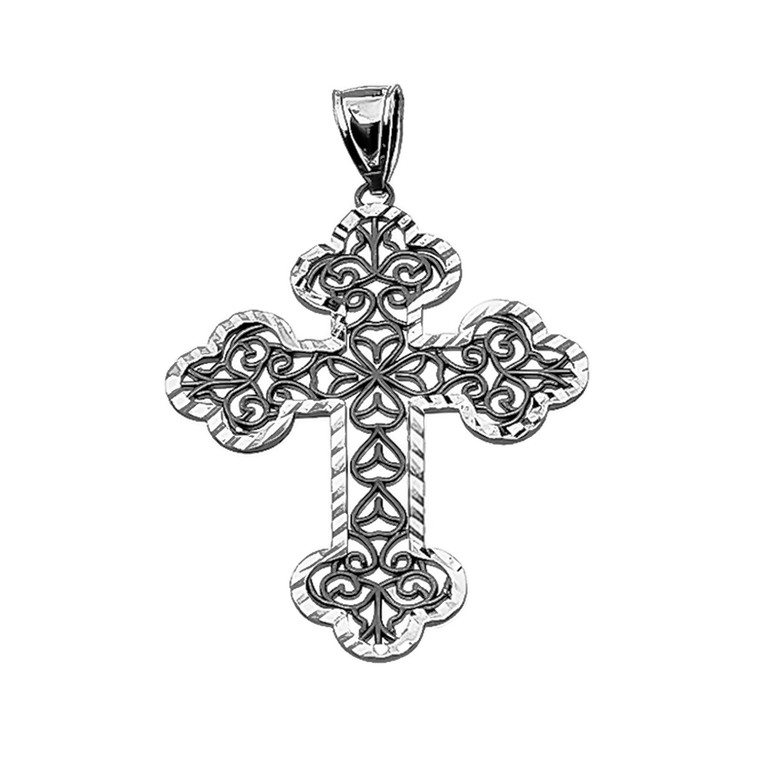 Vintage Antique look Filigree Diamond Cut Cross Pendant Necklace