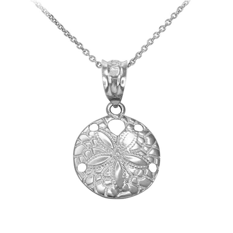 White Gold Round Sand Dollar Pendant Necklace