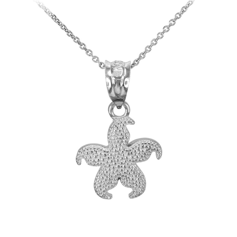 White Gold Textured Star Fish Pendant Necklace