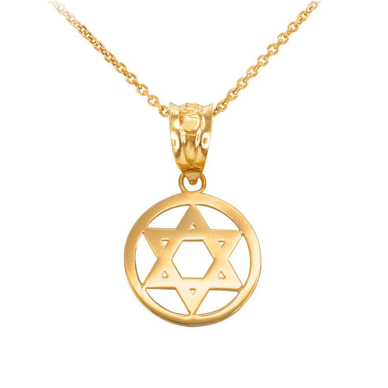 Yellow Gold Encircled Star of David Pendant Necklace