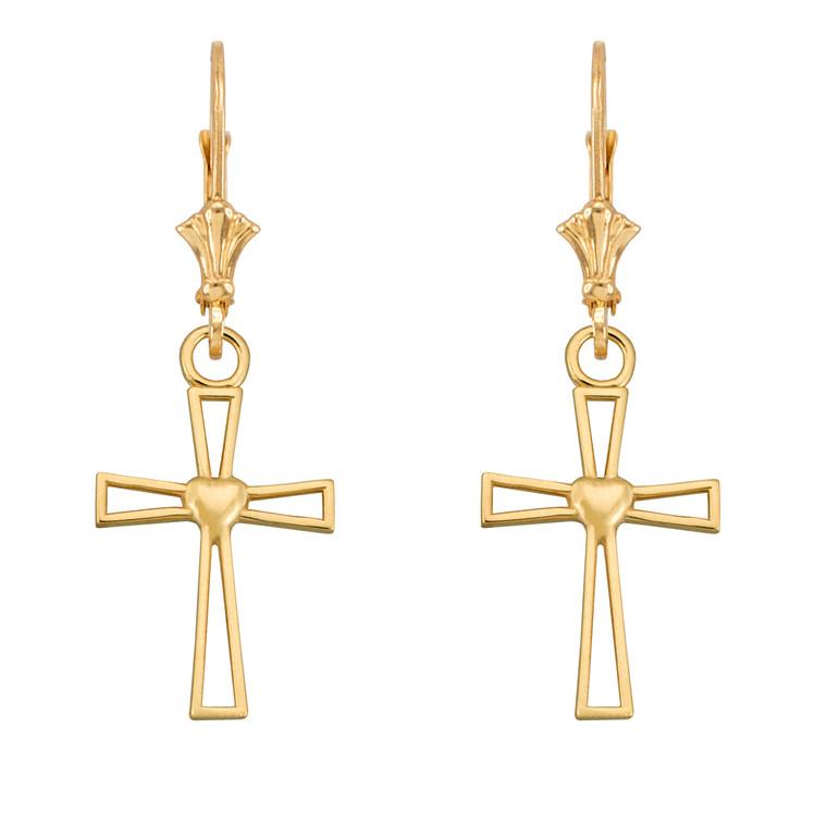 Yellow Gold Cutout Heart Cross Earrings