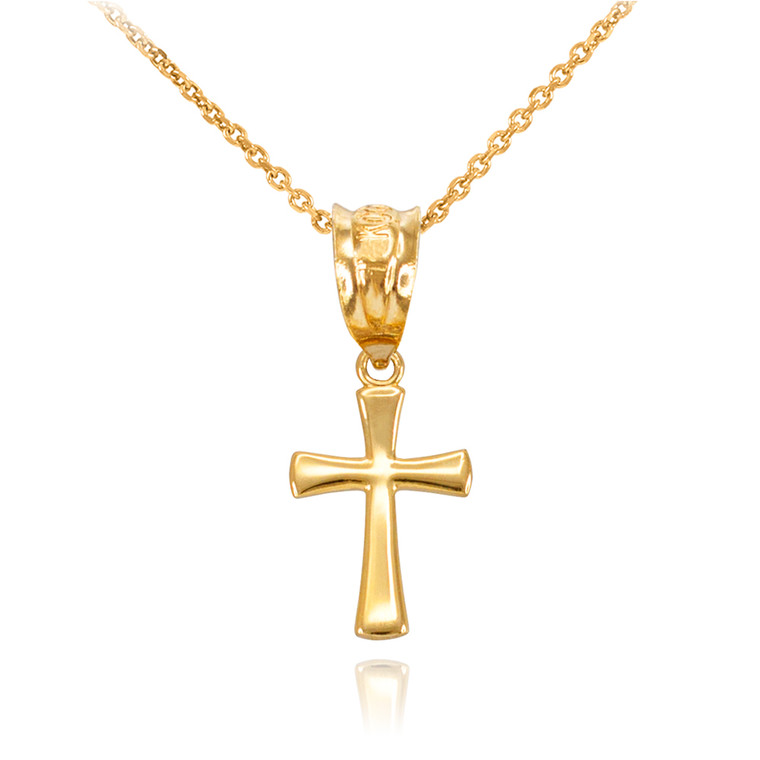 Yellow Gold Rounded Mini Cross Necklace
