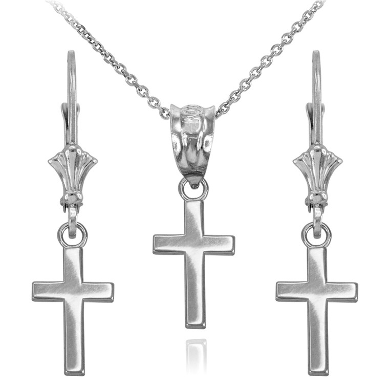 Sterling Silver Smooth Mini Cross Necklace Earring Set