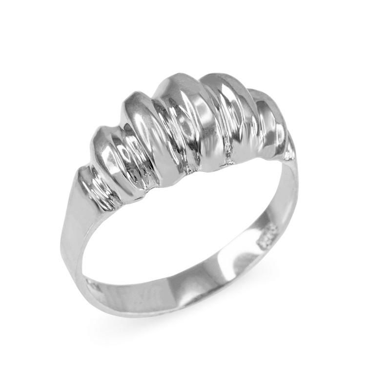 Sterling Silver Elegant Domed Ribbed Ring