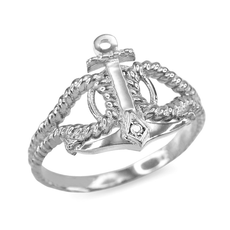 Sterling Silver CZ Accented Anchor Ring