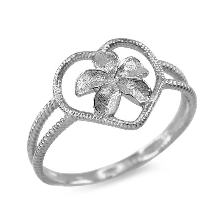 White Gold Plumeria Heart Ring