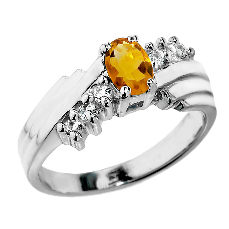 Sterling Silver White Topaz and Citrine Ladies Ring