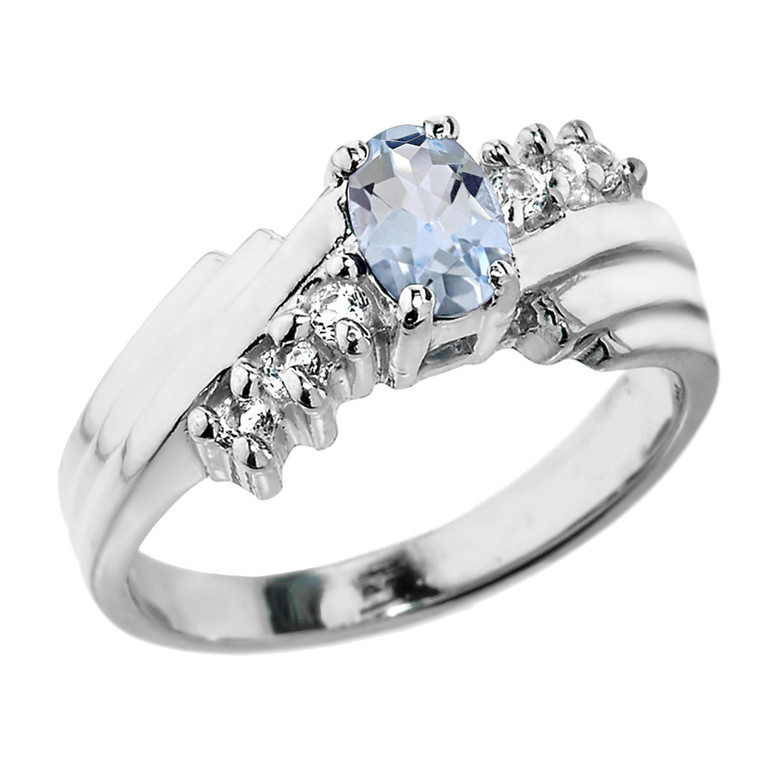 Sterling Silver White Topaz and Aquamarine Ladies Ring
