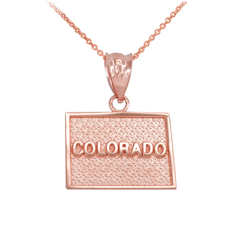 Rose Gold Colorado State Map Pendant Necklace
