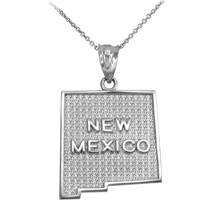 Sterling Silver New Mexico State Map Pendant Necklace