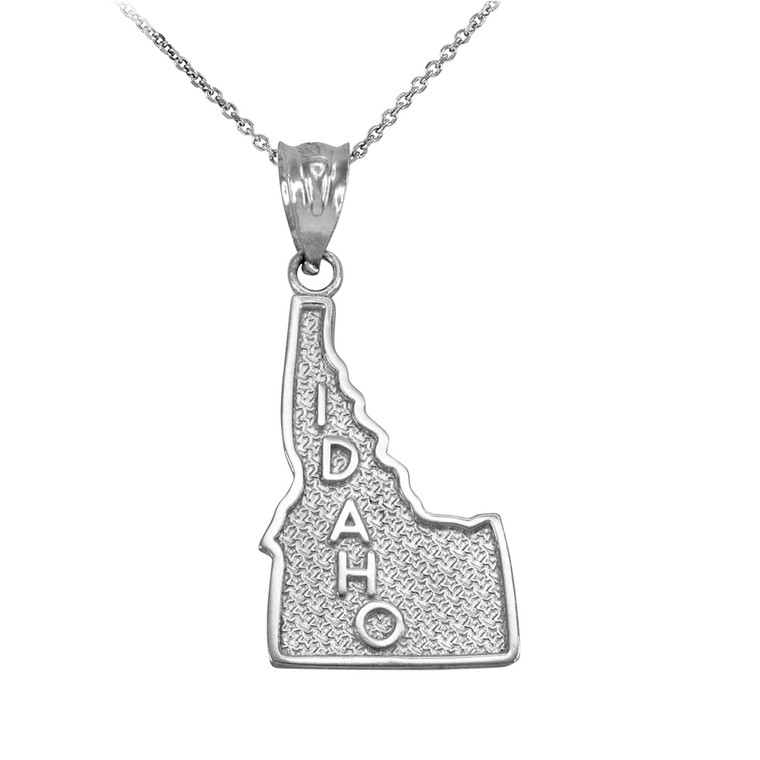Sterling Silver Idaho State Map Pendant Necklace
