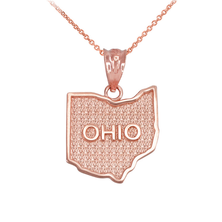 Rose Gold Ohio State Map Pendant Necklace
