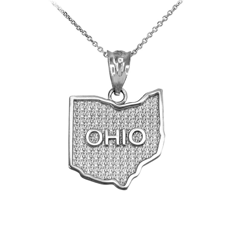 Sterling Silver Ohio State Map Pendant Necklace