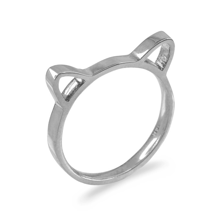 Sterling Silver Kitten Silhouette Stackable Ring Band