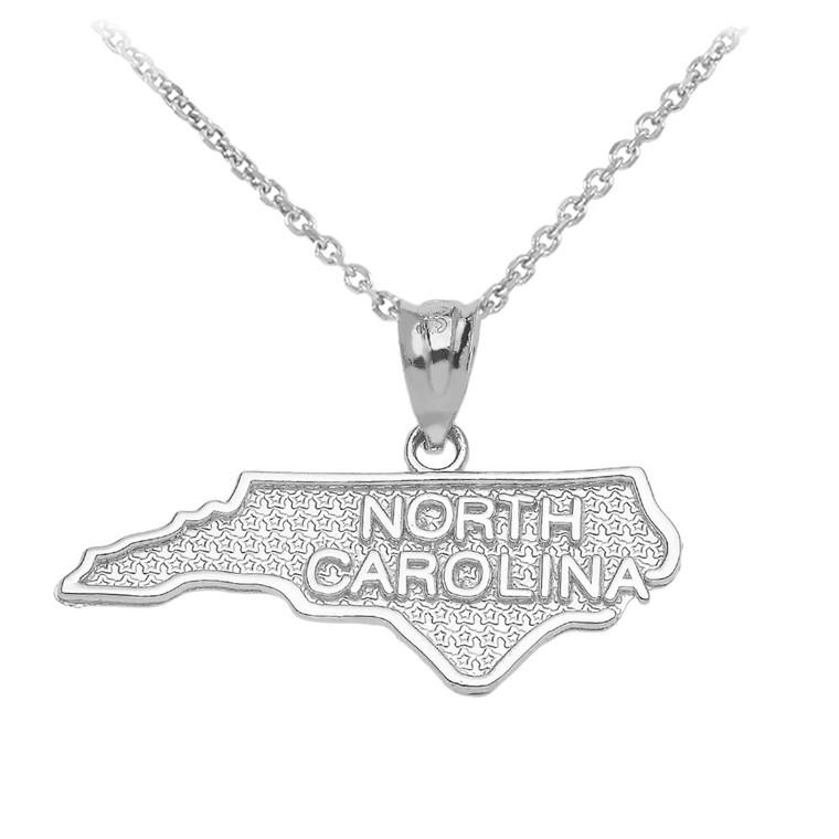 White Gold North Carolina State Map Pendant Necklace