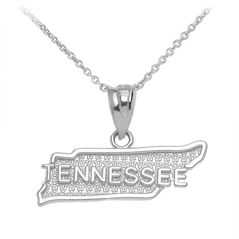 White Gold Tennessee State Map Pendant Necklace