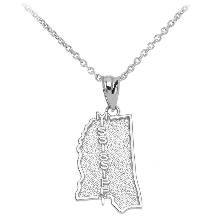 Sterling Silver Mississippi State Map Pendant Necklace