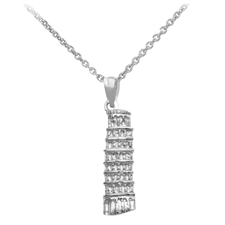 White Gold Detailed Leaning Tower Of Pisa Pendant Necklace
