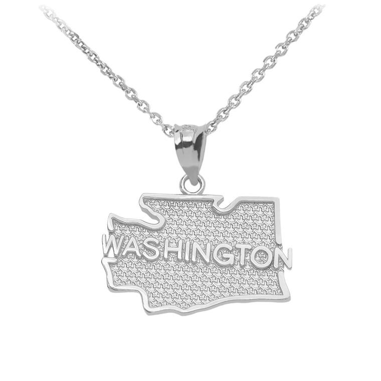 White Gold Washington State Map Pendant Necklace