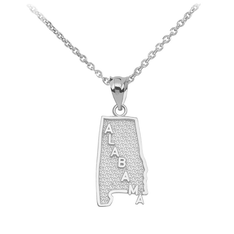 White Gold Alabama State Map Pendant Necklace