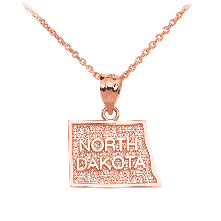 Rose Gold North Dakota State Map Pendant Necklace