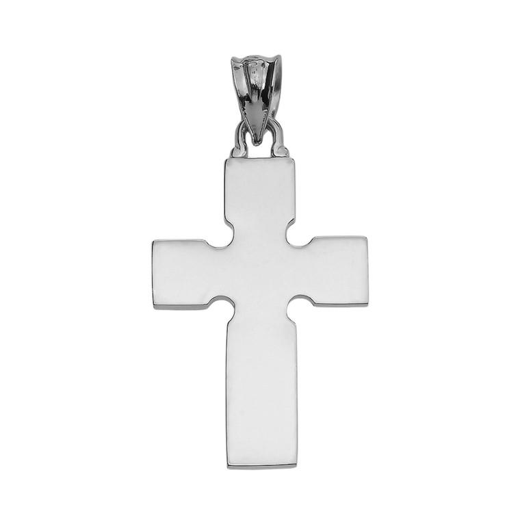 High Polish Celtic Cross White Gold Pendant Necklace