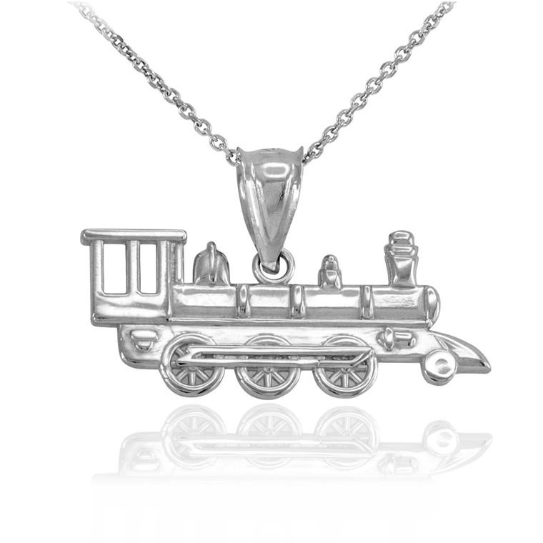 Sterling Silver Steam Train Pendant Necklace