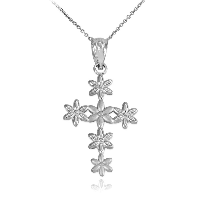 Sterling Silver Cross Of Flowers Pendant Necklace