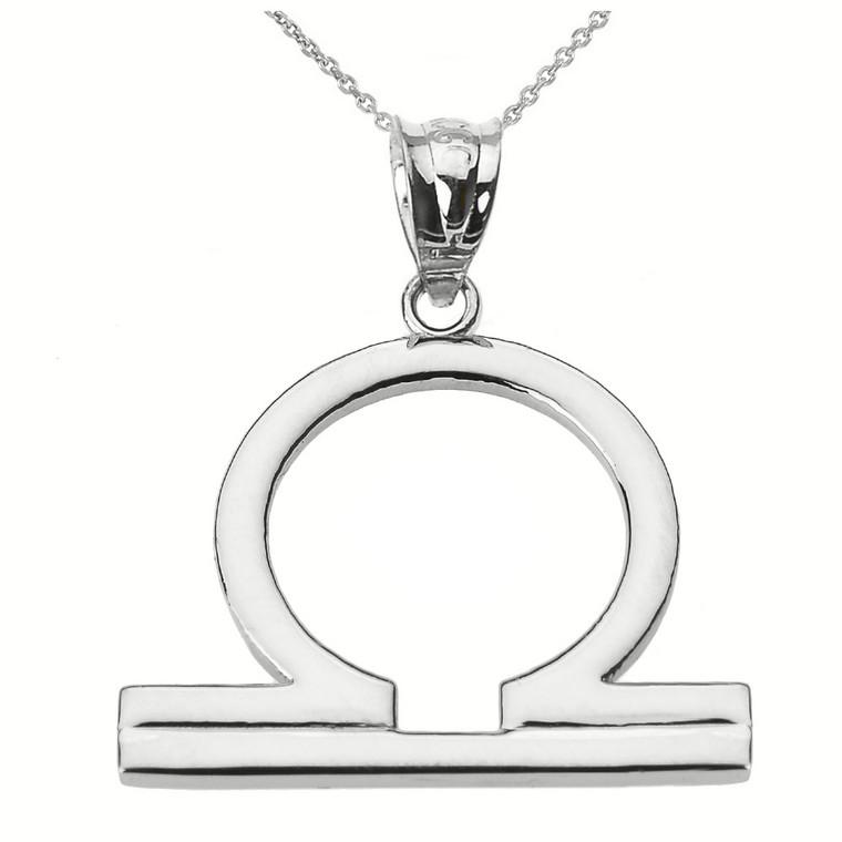Sterling Silver Libra October Zodiac Sign Pendant Necklace