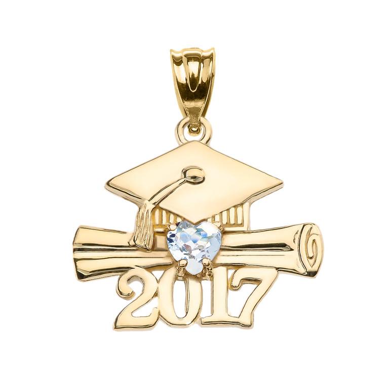 Yellow Gold Heart March Birthstone Aqua CZ Class of 2017 Graduation Pendant Necklace