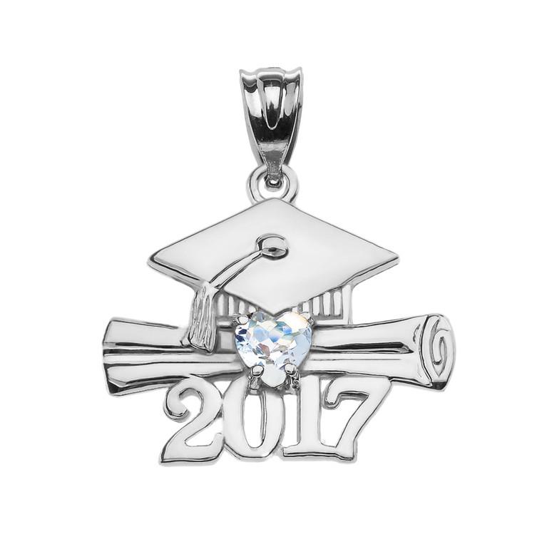 Sterling Silver Heart March Birthstone Aqua CZ Class of 2017 Graduation Pendant Necklace