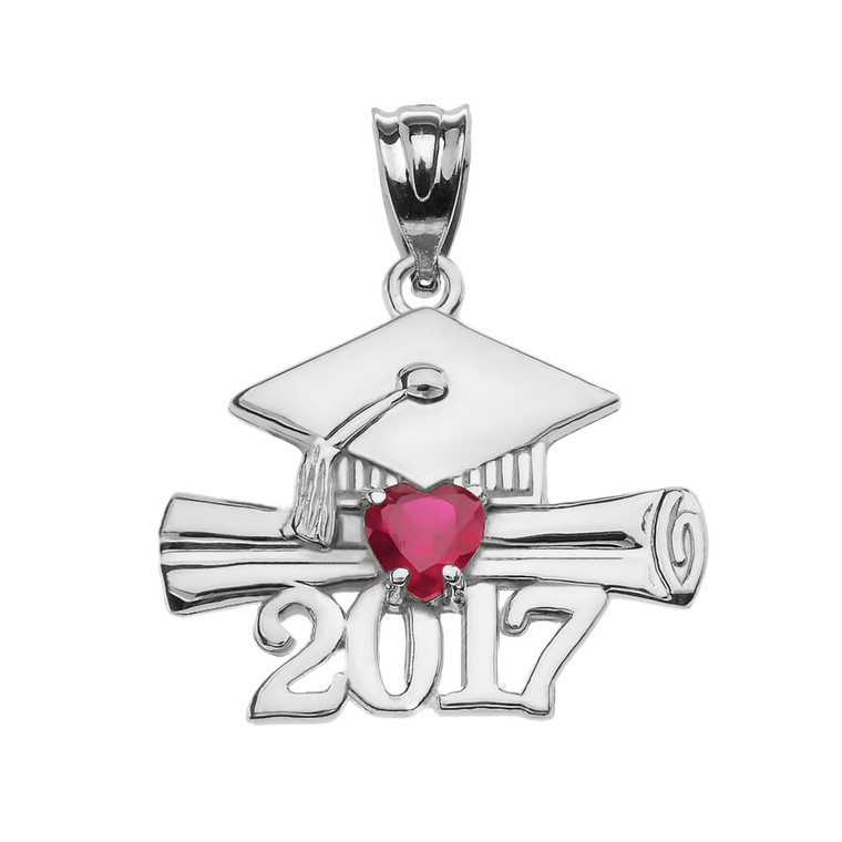 White Gold Heart July Birthstone Red CZ Class of 2017 Graduation Pendant Necklace