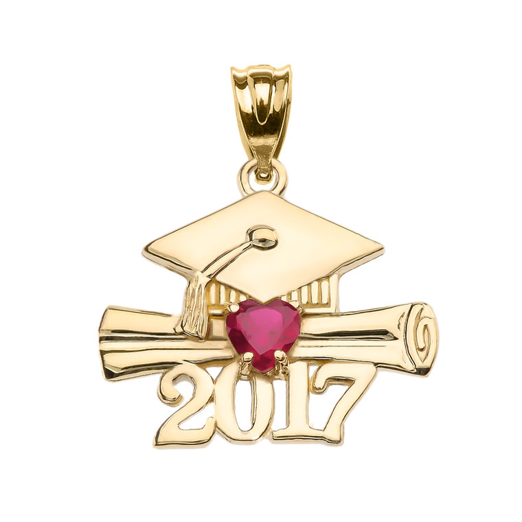 Yellow Gold Heart July Birthstone Red CZ Class of 2017 Graduation Pendant Necklace