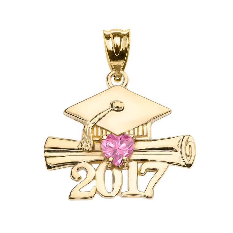 Yellow Gold Heart October Birthstone Pink CZ Class of 2017 Graduation Pendant Necklace