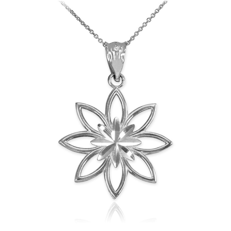 Sterling Silver Polished Daisy Pendant Necklace