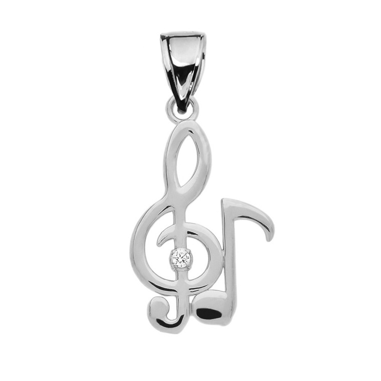 Diamond Treble Clef  And Eighth Note Music White Gold Pendant Necklace