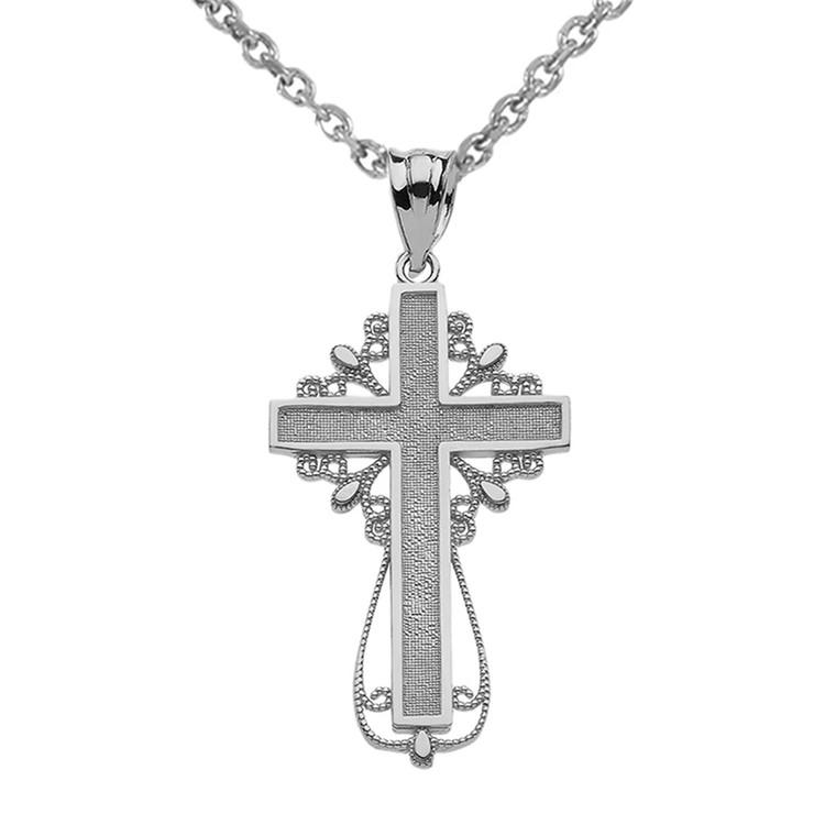 White Gold Latin Filigree Cross Pendant Necklace