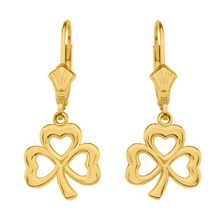 Yellow Gold Polished Lucky Shamrock Earrings