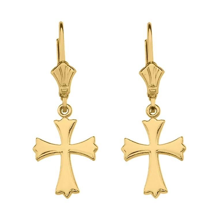 Yellow Gold Roman Catholic Earrings