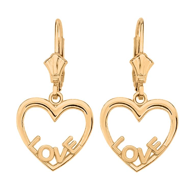 Yellow Gold Love Heart  Earrings