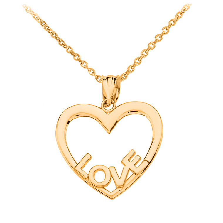 Yellow Gold Love Heart Pendant Necklace