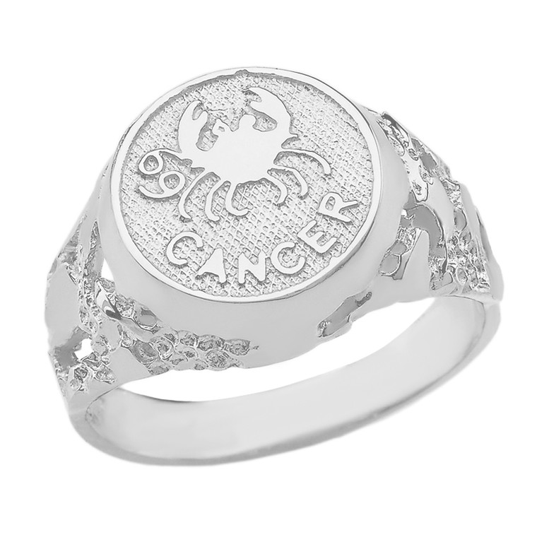 Sterling Silver Cancer Zodiac Sign Nugget Ring