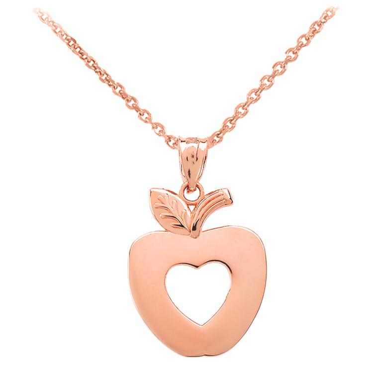 Rose Gold Apple Heart Pendant Necklace