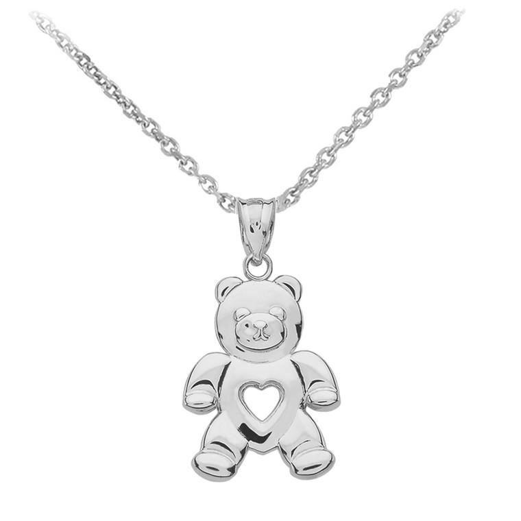 Sterling Silver Love Bear Pendant Necklace