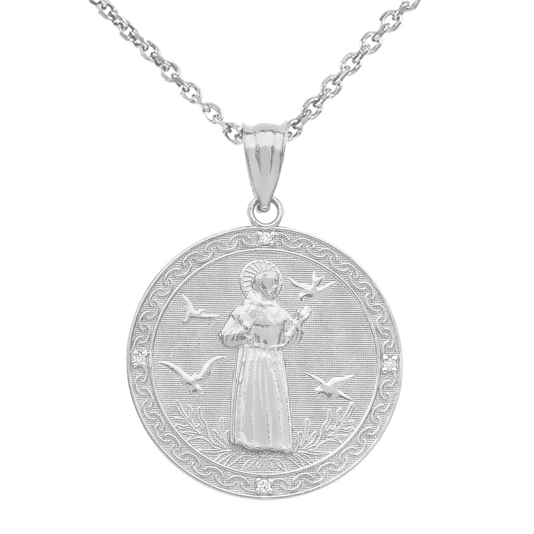 Sterling Silver St. Francis of Assisi Circle Medallion CZ Stone Pendant Necklace (Medium)