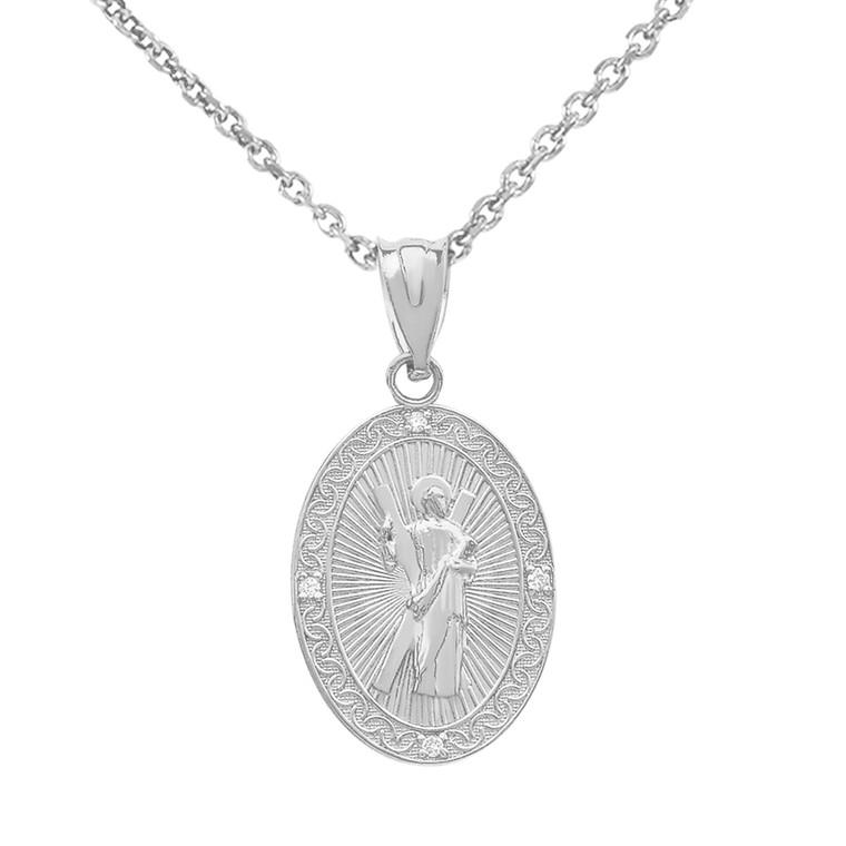 White Gold Saint Andrew Oval Medallion Diamond Pendant Necklace (Small)