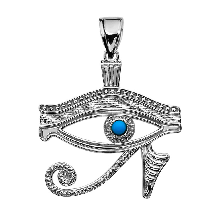 Eye of Horus Sterling Silver Turquoise Pendant Necklace